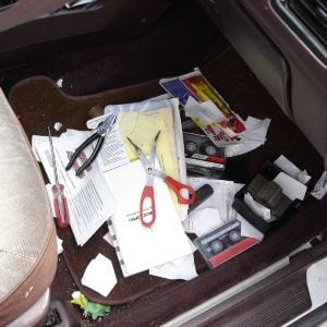 remove everything from the car floor