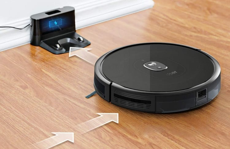 Robot Vacuum Cleaner Going on Charger