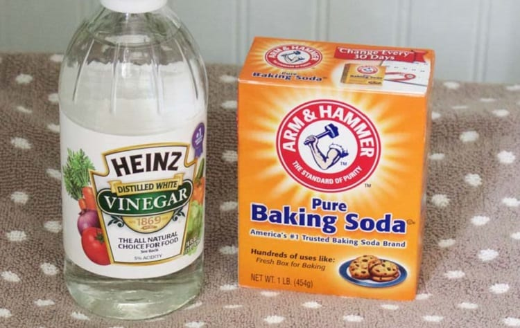 vinegar and soda are common products for stain removal