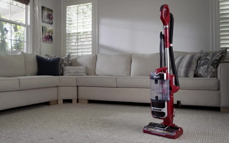 upright vacuum cleaner in living room