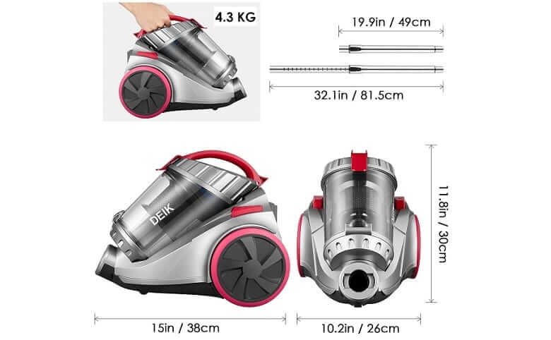 Dimensions of Deik Cylinder Vacuum Cleaner